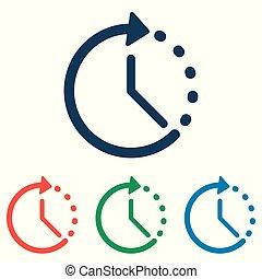 lakás, állhatatos, egyszerű, -, elszigetelt, háttér, vektor, tervezés, idő, fehér, ikon