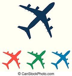 lakás, állhatatos, egyszerű, -, elszigetelt, repülőgép, háttér, vektor, tervezés, fehér, ikon