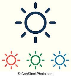 lakás, állhatatos, egyszerű, nap, -, elszigetelt, háttér, vektor, tervezés, fehér, ikon