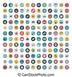lakás, állhatatos, hálózat, média, icons., vektor, társadalmi, ikon