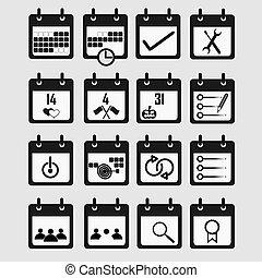 lakás, állhatatos, háttér., naptár, fehér, ikon