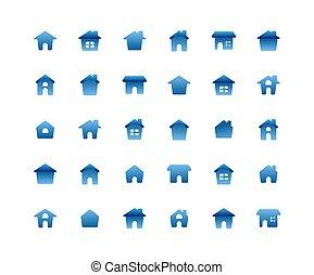 lakás, állhatatos, háttér., otthon, fehér, ikon