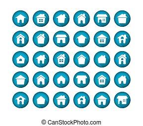 lakás, állhatatos, hosszú, háttér., otthon, árnyék, fehér, ikon