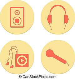 lakás, állhatatos, ikonok, háttér, fehér, zenés