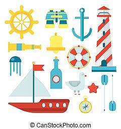 lakás, állhatatos, ikonok, jelkép, tengerész, vektor, tengeri, tengeri