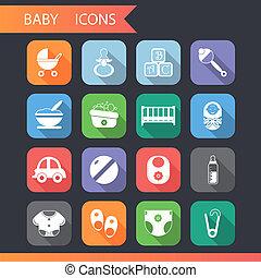 lakás, állhatatos, ikonok, jelkép, vektor, csecsemő, gyermekkor