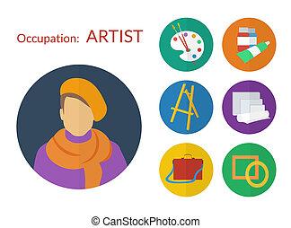 lakás, állhatatos, ikonok, művész, vektor, tervezés