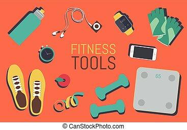 lakás, állhatatos, ikonok, tornaterem táska, alapismeretek, állóképesség, eszközök