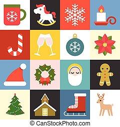 lakás, állhatatos, ikonok, vektor, tervezés, 2, karácsony