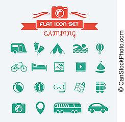 lakás, állhatatos, kempingezés, ikon