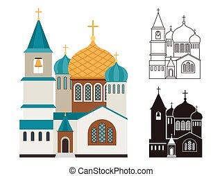lakás, állhatatos, keresztény, lineáris, ikonok, templomok