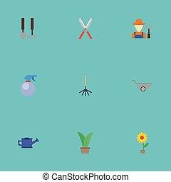 lakás, állhatatos, kertészkedés, elements., ikonok, is, virágcserép, beleértve, jelkép, fruiter, gally, vektor, berendezés, olló, objects., metszőolló, más, palack