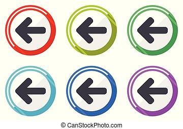 lakás, állhatatos, nyíl, színes, ikonok, jelkép, vektor, tervezés, háttér, internet, fehér, bal