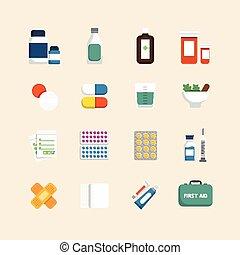 lakás, állhatatos, &, orvosi icons, vektor, egészség, tervezés, concept., törődik