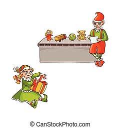 lakás, állhatatos, színek, fiú, vektor, leány, karácsony, törpék