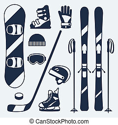 lakás, állhatatos, tél, ikonok, sportfelszerelés, tervezés, style.