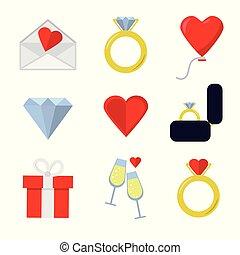 lakás, állhatatos, valentines, háttér, fehér, nap, ikon