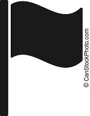 lakás, árnykép, elszigetelt, hullámzás, háttér., lobogó, fekete, pennant., fehér, ikon, design.