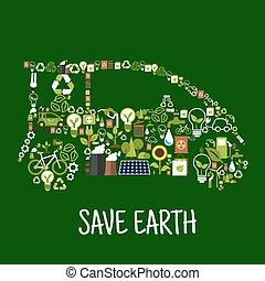 lakás, árnykép, ikonok, eco, autó, energia, zöld