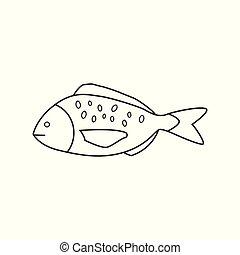 lakás, áttekintés, fish, fekete, tervezés, ikon