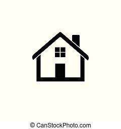lakás, épület, ábra, vektor, otthon, icon.