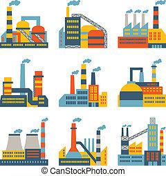 lakás, épületek, ipari, ikonok, gyár, díszlet tervezés, style.