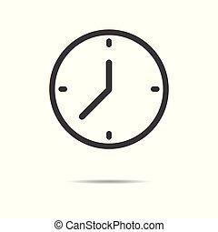lakás, óra, egyszerű, -, elszigetelt, háttér, vektor, tervezés, fehér, ikon