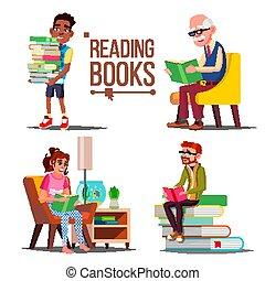 lakás, öreg emberek, nagy, books., elszigetelt, book., karikatúra, education., dolgozat, előjegyez, ábra, vector., nő, kazal, felolvasás, ember, library., child.