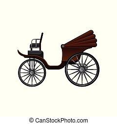 lakás, öreg, nagy, barna, fából való, szüret, tető, utas, kocsi, vektor, tehervagon, átváltható, lóvontatású, wheels., ikon