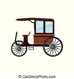 lakás, öreg, utas, fából való, szüret, kocsi, vektor, nagy, taxi, wheels., szállít, ikon