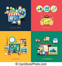 lakás, ügy, bevásárlás, felszabadítás, tervezés, e-commerce, online