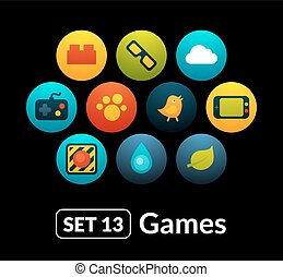 lakás, 13, állhatatos, ikonok, -, gyűjtés, játék, vektor