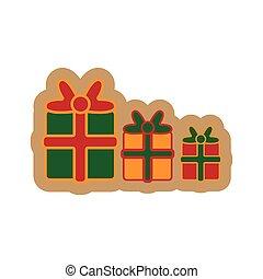 lakás, ajándékoz, háttér, white christmas, ikon