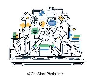 lakás, alapismeretek, eljárás, modern, ábra, kreatív, kibogoz, tervezés, infographics, zenemű, probléma, befog, egyenes