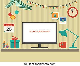 lakás, alapismeretek, santa's, desktop, vektor, tervezés, karácsony