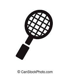 lakás, badminton., egyedülálló, ikon