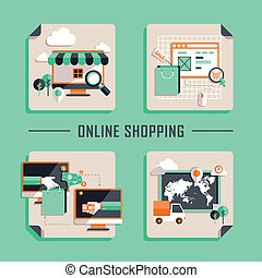 lakás, bevásárlás, ikonok, vektor, tervezés, online
