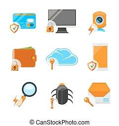 lakás, biztonság, állhatatos, hálózat, ikon