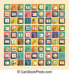 lakás, bussiness, fogalom icons, mozgatható, alkalmazás, árnyék