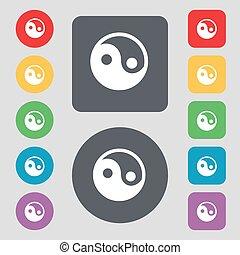 lakás, buttons., állhatatos, színezett, ikon, ying, cégtábla., vektor, 12, design., yang