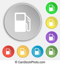 lakás, buttons., autó, cégtábla., gáz, vektor, öt, állomás, jelkép, ikon