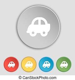 lakás, buttons., autó, cégtábla., vektor, öt, jelkép, ikon