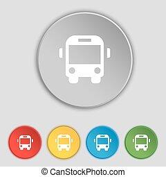 lakás, buttons., autóbusz, cégtábla., vektor, öt, jelkép, ikon