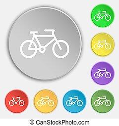 lakás, buttons., cégtábla., bicikli, vektor, öt, jelkép, ikon