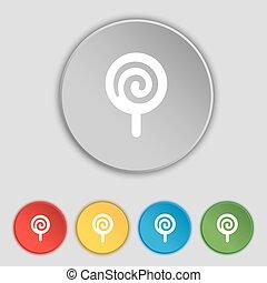 lakás, buttons., cégtábla., cukorka, vektor, öt, jelkép, ikon
