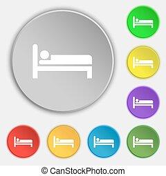 lakás, buttons., cégtábla., hotel, vektor, öt, jelkép, ikon