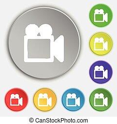lakás, buttons., cégtábla., jelkép, vektor, öt, kamkorder, ikon