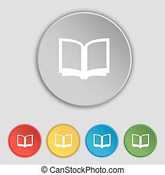 lakás, buttons., cégtábla., jelkép, vektor, öt, nyitott könyv, ikon