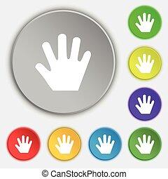 lakás, buttons., cégtábla., kéz, vektor, öt, jelkép, ikon