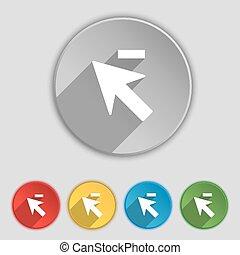 lakás, buttons., cégtábla., kurzor, jelkép, vektor, öt, nyíl, kevesebb, ikon